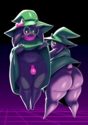 ass big_ass blush bulge curvy deltarune femboy glasses hat male ralsei scarf sqoon thick_thighs thong wide_hips