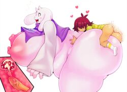 age_difference ass big_breasts big_butt breasts deltarune duo ejaculation female huge_breasts huge_butt human kris_(deltarune) male male/female mammal matospectoru sex size_difference smaller_male thick_thighs toriel undertale video_games young