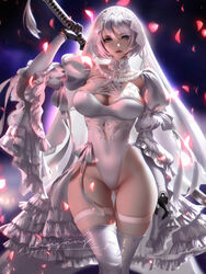 1girls big_breasts breasts cleavage female female_only large_breasts liang_xing looking_at_viewer nier nier:_automata solo thighhighs yorha_2b