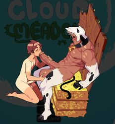 2boys 4_fingers animated animated animated anthro balls bara barazoku barefoot big_balls blowjob blush blushed blushed_red blushes bouncing_balls bovine boy_cow brown_eyes brown_hair cloud_meadow cock cowbell dark-skinned_male dark_skin farm feet fellatio foreskin gay holding_balls holding_penis horn horns huge_balls huge_cock huge_cock human human_on_anthro humansub male male/male male_only male_penetrating mammal muscles necklace nude oral oral_sex penis s-purple screen_capture screencap sex size_difference spread_legs sweat sweating tail tanlines white_fur white_hair yaoi