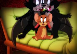 4_fingers amegared balls black_eyes black_fur black_nose brown_fur chiropteran digital_media_(artwork) fangs fur group hi_res invalid_tag jerry_(disambiguation) jerry_mouse male male/male mammal metro-goldwyn-mayer mouse open_mouth penis rodent sex show sitting sofa tom_and_jerry vampire wings