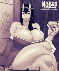 1girls big_breasts chubby cleavage clothed female female_only horns huge_ass huge_breasts larger_female long_nails monochrome nobro oni oni_girl sake text thick_thighs watermark wide_hips