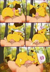 1boy 1girls feet female feral flat_chest forest furry game_freak half-closed_eyes hat human interspecies larger_male male male_pov nintendo nude outdoors paws penis pikachu pokemon pokemon_(creature) pokemon_rgby pov pussy rodent sequential sex size_difference smaller_female straight thick_thighs wide_hips