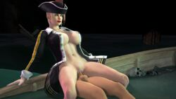 3d 3d_(artwork) almightybeastoverlord blonde_hair blue_eyes boat bottomless broken_boat coat costume cowgirl_position dead_or_alive dead_or_alive_5 doa earrings femdom forced naked_coat ninja_gaiden penis pirate pirate_hat pirate_outfit rachel red_lips red_lipstick sfm skeleton submerged treasure_chest vagina vaginal_insertion vaginal_penetration