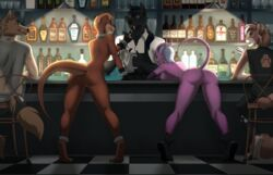 2019 anthro breasts canid canine canis clothed clothing demon detailed_background digital_media_(artwork) domestic_dog felid female group hair lutrine machairodontine male mammal mustelid nipples nude orange_hair pussy rayley
