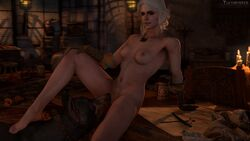 1animal 1girls 3d areolae barefoot breasts canine ciri closed_eyes cunnilingus gloves hand_on_knee nipples scar sitting spread_legs tacobusternsfw the_witcher the_witcher_3:_wild_hunt white_hair zoophilia