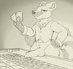 2019 anthro backsash balls bottomless clothed clothing digital_media_(artwork) fur hair humanoid_penis looking_at_viewer male mammal monochrome penis procyonid raccoon simple_background sketch smile solo standing teeth