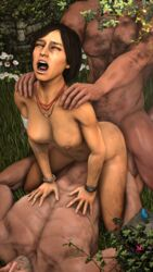 1girls 2boys 3d anal anal_sex areolae black_hair breasts chloe_frazer closed_eyes cowgirl_position deathhandsfm doggy_style double_penetration hand_on_shoulder male nipples outside uncharted vaginal_penetration