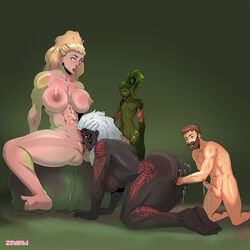 abs ahe_gao blonde_hair cornrows cum cum_on_ass cumming cumshot cunnilingus from_behind grinding guild_wars guild_wars_2 guildwars guildwars2 human juices large_breasts large_butt male masturbation muscular muscular_back muscular_female muscular_male norn pecs penis pussy_ejaculation pussy_juice semen size_difference squirting sylvari tattoos tongue_out white_hair zedeki