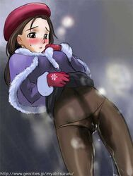 artist_request beret blush cold flat_chest gloves hat original outside pantyhose peeing tagme wet wet_clothes