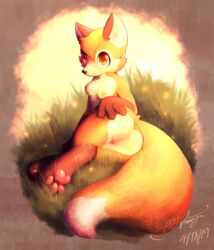 2019 3_toes anthro ass blush breasts canid canine digital_drawing_(artwork) digital_media_(artwork) ears_up female fluffy fox fur gingy_k_fox grass hand_on_butt hi_res looking_back mammal multicolored_fur nipples nude outside pussy sitting solo toes
