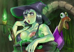 banjo-kazooie big_breasts black_hair bored breasts game_over_gruntilda green_skin gruntilda nip_slip nipples nude red_eyes witch witch_hat