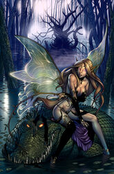 1girl art breasts cleavage crocodile dominic_marco fairy neverland peter_pan tinker_bell