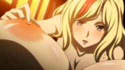 2girls animated animated breasts fingering hasami_rein lady_j large_breasts lipstick looking_at_viewer multicolored_hair multiple_girls nipples nude official point_of_view purple_eyes sunlight sweat valkyrie_drive valkyrie_drive_-mermaid- wet window yuri