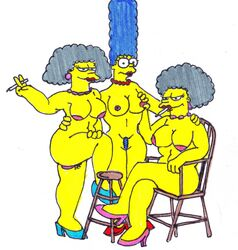 marge_simpson patty_bouvier selma_bouvier the_simpsons xiro