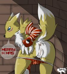 alley anthro anus ass bandai bent_over christmas clothing digimon english_text female gloves holidays looking_at_viewer looking_back outside panties panties_down presenting presenting_hindquarters pussy pussy_juice pussy_juice_string raised_tail rear_view redfoxsoul renamon signature solo standing striped_panties talking_to_viewer text underwear undressing wet wet_panties