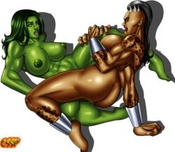 2girl abs areola ass big_ass big_breasts bracelet crossover cssp dark-skinned_female dark_skin green_eyes green_hair green_skin highres horns huge_breasts long_hair marvel mortal_kombat muscle muscular_female netherrealm_studios nipples open_mouth sex she-hulk sheeva shokan simple_background tribadism yellow_eyes yuri