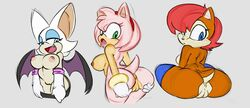 amy_rose angelbreed anthro anus bat big_breasts breasts chipmunk clothing female happy hedgehog looking_back mammal nude open_mouth presenting pussy rodent rouge_the_bat sally_acorn sega smile sonic_(series) wings