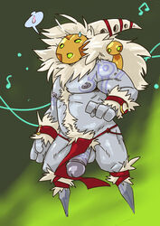 2015 anthro balls bard_(league_of_legends) beard biceps body_hair clothed clothing digital_drawing_(artwork) digital_media_(artwork) duo facial_hair glans grey_nipples hair half-erect happy_trail hi_res humanoid humanoid_penis league_of_legends loincloth long_hair male male_only mask meep_(league_of_legends) muscular nipples nude penis pubes riot_games simple_background slugsdog solo spirit tattoo topless video_games