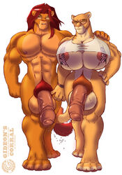 anthro balls big_balls big_breasts breasts dickgirl dripping eyewear feline fur furry gideon huge_breasts huge_cock hyper hyper_balls hyper_breasts hyper_penis intersex lion male muscles muscular_intersex nipples penis savannah_(gideon) serengeti_(gideon) sunglasses walking