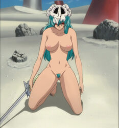 arrancar bleach cap espada green_hair hollow neliel_tu_oderschvank nelliel_tu_odelschwanck nude_filter photoshop screencap skull sword uncensored weapon