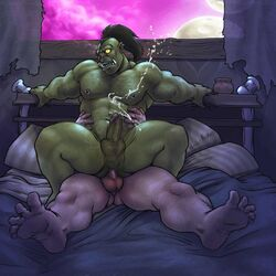 anal anal_sex captaingerbear cum cumshot fucked_silly gay green_skin gripping hairy male muscles nipple_piercing nipples not_furry on_top orc orgasm penetration penis piercing reverse_cowgirl_position sex