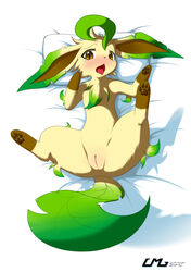 blush chest_tuft eeveelution female feral fur leafeon lying mammal nintendo on_back open_mouth pokemon pussy solo tuft video_games z-fox