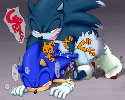 anal anal_sex blush cum dialog furry_only gay male no_humans penetration penis sega sex sonic_(series) sonic_the_hedgehog sonic_the_werehog sweat tears text translation_request