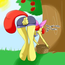 amber_eyes anthro anus apple_bloom_(mlp) back_turned basket bent_over breasts clitoris clothes denizen1414 equine female friendship_is_magic fur hair hi_res hooves horse mammal my_little_pony older outside pony pussy raised_tail red_hair solo text torn_clothes tree underboob wardrobe_malfunction yellow_fur