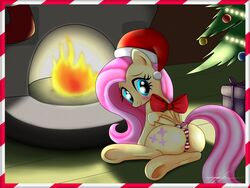 christmas fluttershy_(mlp) friendship_is_magic looking_at_viewer my_little_pony panties presenting santa_hat smiling solo striped_panties