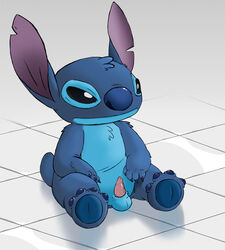 alien balls blue_fur claws disney erection furry_only gay lilo_and_stitch male no_humans penis sitting stitch ziyen