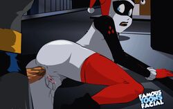 1boy 1girl anal anal_sex animated ass batman batman_(series) blue_eyes clothed_sex dc dcau famous-toons-facial female from_behind gloves harley_quinn human looking_back male mask penis pussy_juice sex stockings straight