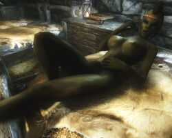 1girl 3d abs bedroom_eyes braids breasts brown_hair female female_only green_skin headband humanoid large_breasts lying mohawk on_bed orc orc_female pointy_ears skyrim solo the_elder_scrolls thick_lips tusks