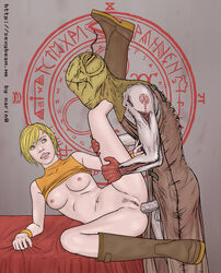 1boy altar anal blonde_hair boots breasts clenched_teeth clothed_sex female gloves heather_mason highres leg_grab leg_up looking_at_another lying mask monster narin0 navel nipples on_side pubic_hair pussy sex shirt_lift silent_hill silent_hill_3 sleeveless_turtleneck symbol turtleneck uncensored valtiel wristband yellow_eyes
