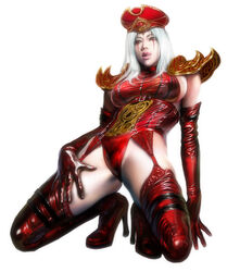 azazel breasts hair hat human large_breasts lipstick makeup realistic sally_whitemane thigh_boots thighhighs tongue warcraft white_hair world_of_warcraft