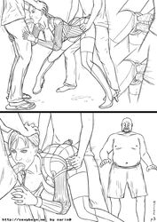3boys anal bodysuit breasts carrot clothed_sex cum cum_in_mouth doggy_style fellatio female gangbang group_sex hand_on_head hips jill_valentine monochrome motion_blur multiple_boys narin0 nipples object_insertion open_mouth penis ponytail pussy pussy_juice resident_evil resident_evil_5 saliva sex spitroast standing torn_clothes trembling triple_penetration uncensored vaginal_penetration