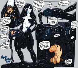 2018 5_fingers ?! absorption_vore balls beige_penis beige_skin big_penis black_balls black_hair black_penis blue_eyes breasts brown_hair cock_transformation comic dialogue dickgirl dickgirl/male digital_media_(artwork) duo english_text forced goo_creature green_eyes gretal grin hair heart hi_res huge_cock human intersex intersex/male lipstick makeup male mammal midriff modeseven navel not_furry penis signature smile speech_bubble text transformation vore