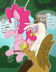2014 anus ass avian beak blue_eyes blush brown_fur butt_grab cutie_mark dialog duo earth_pony english_text equine eyelashes female friendship_is_magic fur gilda_(mlp) gryphon hair hellticket hooves horse mammal my_little_pony outside pink_fur pink_hair pinkie_pie_(mlp) pony pussy swing text uncensored white_fur