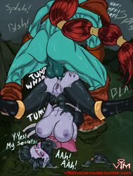 abs ahegao anal anal_penetration anal_sex areola ass ass_grab black_hair blue_eyes boots breasts cyan_eyes dota dota_2 female green_skin huge_penis huskar large_penis large_testicles long_hair male mask muscle_tone muscles muscular nipples open_mouth perky_breasts pleasure_face ponytail purple_skin red_hair rolling_eyes small_ass taint templar_assassin torn_clothes very_long_hair villainous_muse
