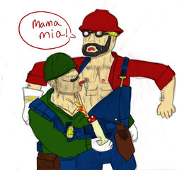 engineer luigi mario nintendo samboengie soldier team_fortress_2 yaoi