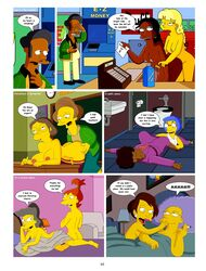apu_nahasapeemapetilon dark-skinned_female dark_skin edna_krabappel female human luann_van_houten male manjula_nahasapeemapetilon multiple_females the_simpsons yuri