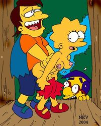 lisa_simpson milhouse_van_houten nelson_muntz nev the_simpsons