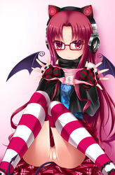 blush emil_chronicle_online female fingerless_gloves glasses gloves headphones highres holding holding_panties long_hair no_panties panties panties_removed pink_eyes pink_panties pussy pussy_juice_stain red-framed_glasses red_hair shimo_(depthbomb) sitting skirt skirt_lift solo striped striped_gloves striped_legwear tail uncensored underwear wings