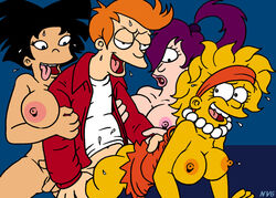 amy_wong crossover female futurama grown_up human interracial lisa_simpson male nev philip_j_fry straight tagme the_simpsons turanga_leela