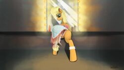 anus applejack_(mlp) buttplug dress friendship_is_magic hair looking_at_viewer mammal my_little_pony oneofyouare sex_toy solo uncensored