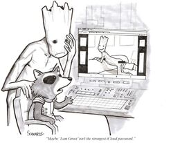 benjamin_schwartz bent_over censored comic computer cute frown groot guardians_of_the_galaxy humor looking_at_viewer male pornography pose rocket_raccoon smile sofa solo text