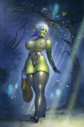 arcturusx1 blue_eyes boots breasts cameltoe earrings elbow_gloves female fingerless_gloves forest gloves green_skin huge_breasts large_breasts leotard multicolored_hair nipple_piercing nipples nose_piercing orc piercing pointy_ears see-through short_hair smile spiked_bracelet standing thigh_boots tusks vem world_of_warcraft