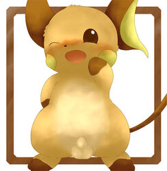 blush color feral front_view fur male male_only nintendo nude penis pokemon raichu rakurittsu solo standing tagme wink