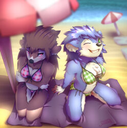 animal_crossing anthro beach bikini breasts color day female fur furry hedgehog mabel_able multiple_females outdoors sable_able sand shade summer sun sunny towel umbrella water z00p