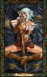 boots breasts ciri corset eyes_shadow female nipples ponytail scar shirt sitting solo sword the_witcher the_witcher_3 vintem weapon white_hair